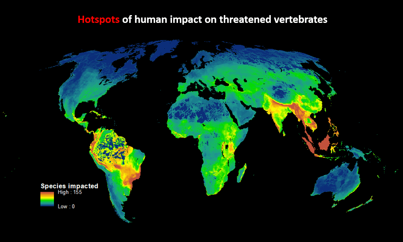 The most affected biomes were in southern Brazil, Malaysia, Indonesia, India, Myanmar and Thailand. Photograph: PLOS Biology