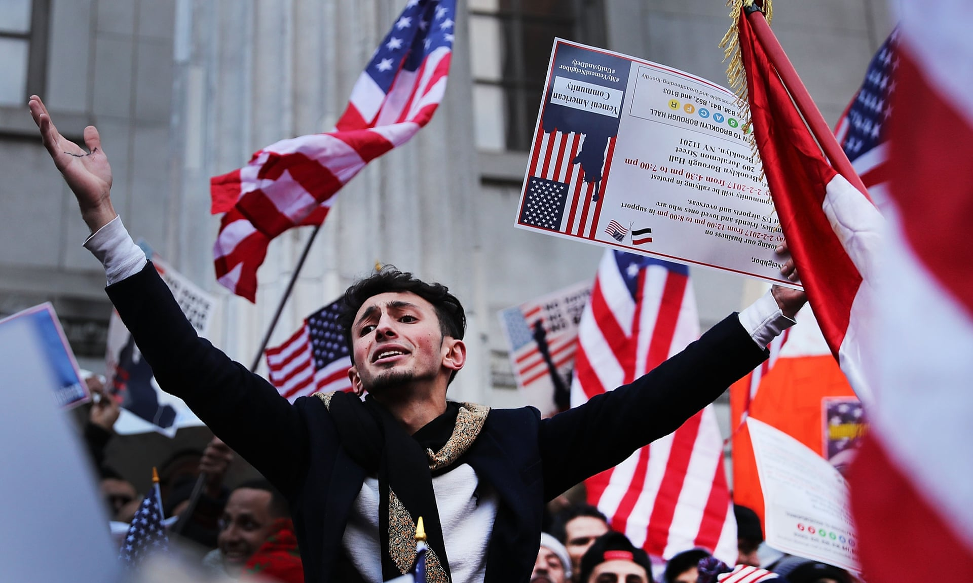 Yemenis and supporters protest against Donald Trump's executive order temporarily banning immigrants and refugees from seven Muslim-majority countries, including Yemen on 2 February 2017 in Brooklyn. Photograph: Spencer Platt/Getty Images