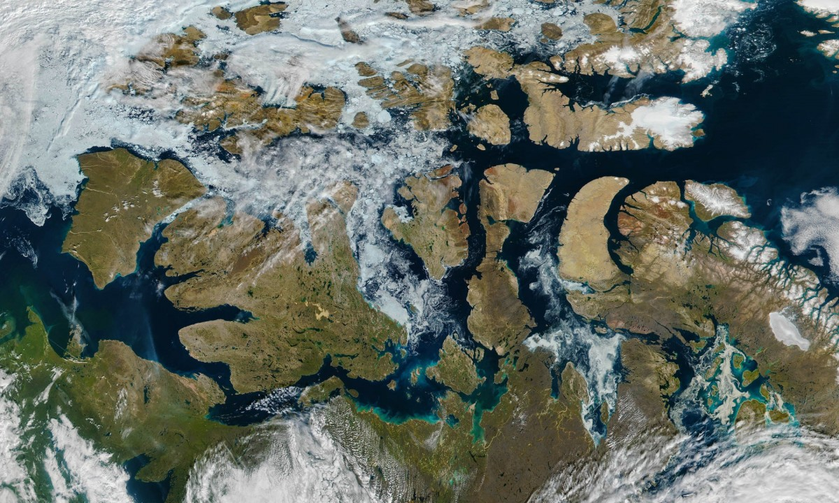 A nearly ice-free Northwest Passage in the Arctic in August 2016. Photograph: VIIRS/Suomi NPP/Nasa