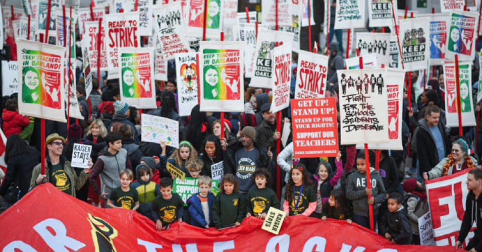 Oakland teachers strike, national teacher strikes, teacher pay, teaching conditions, privatized education, public schools, charter schools, Oakland Education Association, teacher strikes