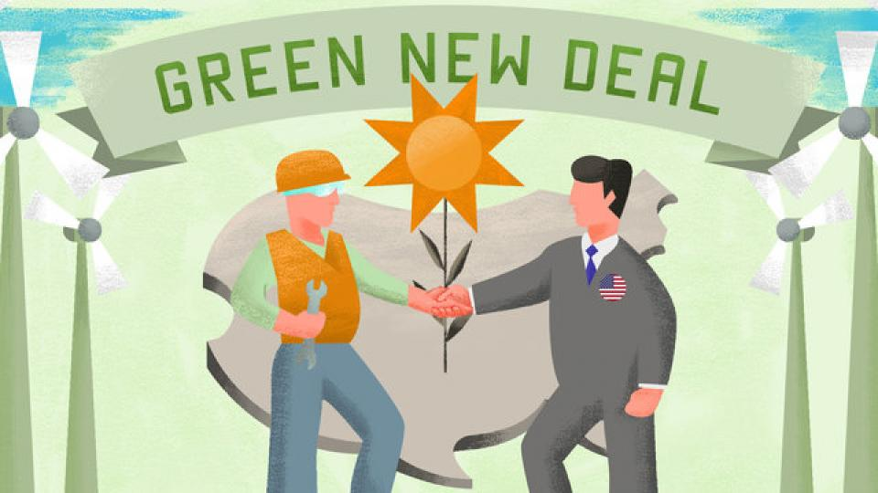 Green New Deal, public banks, publicly financed clean energy, modern monetary theory, monetary policy, Alexandria Ocasio-Cortez, American Monetary Institute, New Economics Foundation, New Deal, Reconstruction Finance Corporation