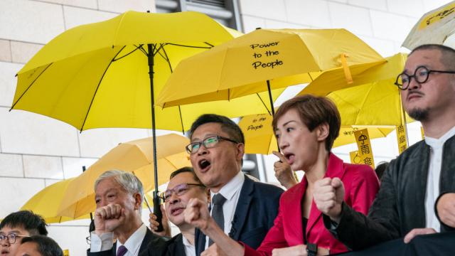 Occupy co-founders Reverend Chu Yiu-ming, Benny Tai and Chan Kin-man protest outside the West Kowloon Court on Nov. 19, 2018 in Hong Kong. Anthony Kwan—Getty Images
