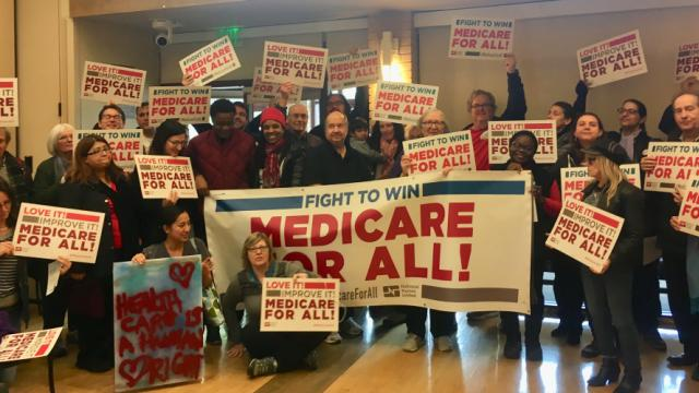 """Folks are gathering to talk about the plan to win guaranteed healthcare.Next steps involve knocking on doors, phone banks—various ways of engaging our communities to get involved,"" said National Nurses United executive director Bonnie Castillo. (Photo: N"